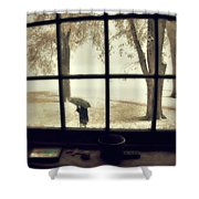 The  October Snow Shower Curtain
