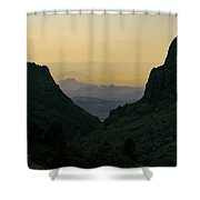 The Window At Sunset In Chisos Mountains Of Big Bend National Park Texas Shower Curtain