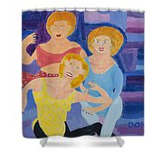 The Yoga Girls Shower Curtain by Don Larison