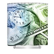 Time Is Money Shower Curtain by Les Cunliffe