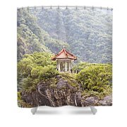 Traditional Pavillion Atop Cliff Shower Curtain