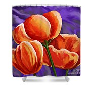3 Tulips Red Purple Shower Curtain