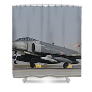 Turkish Air Force F-4 Phantom At Konya Shower Curtain