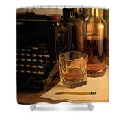 Typewriter And Whiskey Shower Curtain
