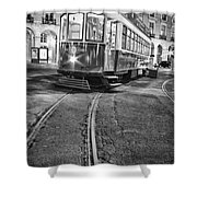 Typical Lisbon Tram In Commerce Square Shower Curtain