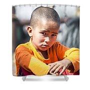 Uighur Child At Kashgar Market Xinjiang China Shower Curtain