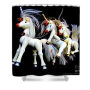3 Unicorns Romping Shower Curtain