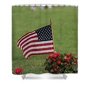 Us Flag On Memorial Day Shower Curtain by Robert D  Brozek