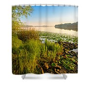 View Of The Dniper River At Morning Shower Curtain