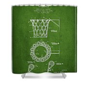 Vintage Basketball Goal Patent From 1951 Shower Curtain