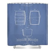 Vintage Beer Keg Patent Drawing From 1898 - Light Blue Shower Curtain