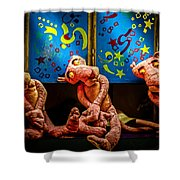 3 Wet Pink Panthers Shower Curtain