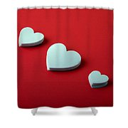 White Hearts Shower Curtain