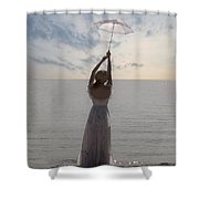 Woman At The Beach Shower Curtain