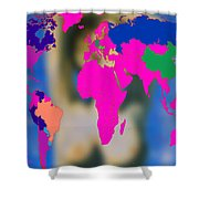 World Map And Aphrodite Shower Curtain