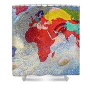 World Map And Barack Obama Stars Shower Curtain