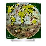 World Map And Earth Shower Curtain