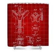 Zipper Patent 1914 - Red Shower Curtain