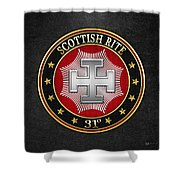 31st Degree - Inspector Inquisitor Jewel On Black Leather Shower Curtain
