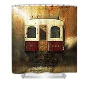 321 Antique Passenger Train Car Textured Shower Curtain