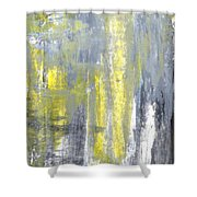 Placed - Grey And Yellow Abstract Art Painting Shower Curtain