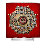 33 Scottish Rite Degrees On Red Leather Shower Curtain