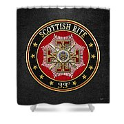 33rd Degree - Inspector General Jewel On Black Leather Shower Curtain