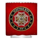 33rd Degree - Inspector General Jewel On Red Leather Shower Curtain