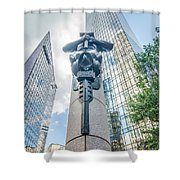 Skyline And City Streets Of Charlotte North Carolina Usa Shower Curtain