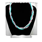 3584 Three Strand Twisted Shell Necklace Shower Curtain
