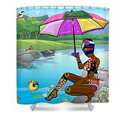 Girl By The Lake Shower Curtain