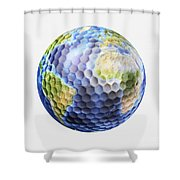 3d Rendering Of A Planet Earth Golf Shower Curtain