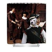 American Staffordshire Terrier Art Canvas Print Shower Curtain