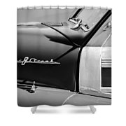 1948 Pontiac Streamliner Woodie Station Wagon Emblem Shower Curtain