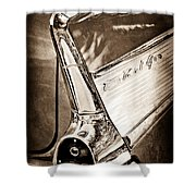 1957 Chevrolet Belair Taillight Emblem Shower Curtain