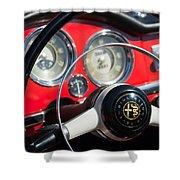 1961 Alfa Romeo Giulietta Spider Steering Wheel Emblem -1239c Shower Curtain