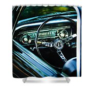 1965 Shelby Prototype Ford Mustang Steering Wheel Emblem Shower Curtain