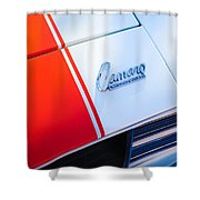 1969 Chevrolet Camaro Rs-ss Indy Pace Car Replica Hood Emblem Shower Curtain by Jill Reger