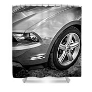 2010 Ford Mustang Convertible Bw Shower Curtain