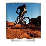 A Middle Age Man Rides His Mountain Shower Curtain