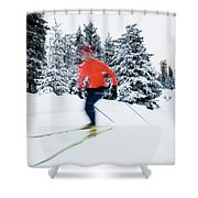 A Young Woman Cross-country Skiing Shower Curtain