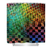 Abstract Checkered Pattern Fractal Flame Shower Curtain