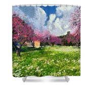 Ancient Olympia During Springtime Shower Curtain