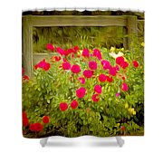 Fence Line Flowers Shower Curtain