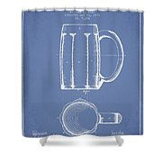 Beer Mug Patent From 1876 - Light Blue Shower Curtain
