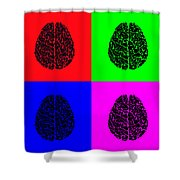 4 Brain Pop Art Panel Shower Curtain