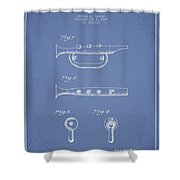 Bugle Call Instrument Patent Drawing From 1939 - Light Blue Shower Curtain