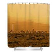 California Oil Field Under Amber Sky Shower Curtain