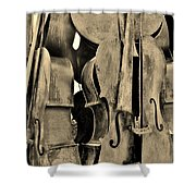 4 Cellos Sepia Shower Curtain