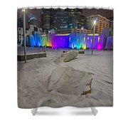 Charlotte Queen City Skyline Near Romare Bearden Park In Winter Snow Shower Curtain